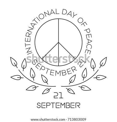 International Day of Peace. World Peace Day line logo design. September 21. Vector illustration