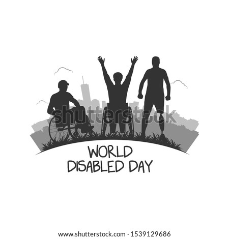 International Day of Persons with Disabilities.Men in wheel chair and man with prosthesis