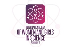 International Day of Women and Girls in Science. February 11. Holiday concept. Template for background, banner, card, poster with text inscription. Vector EPS10 illustration
