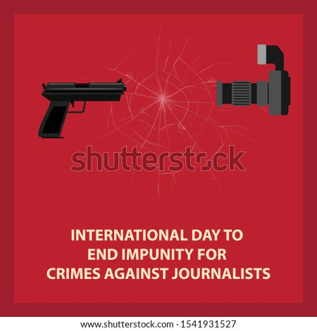 International Day to  End Impunity for  Crimes against Journalists, November 2. Vector design for card, poster or banner, template, Crimes Against Journalist,