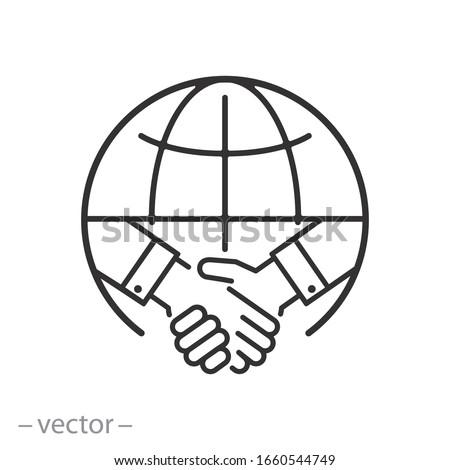 international deal icon, partner handshake, global trade, thin line web symbol on white background - editable stroke vector illustration eps10 Photo stock ©