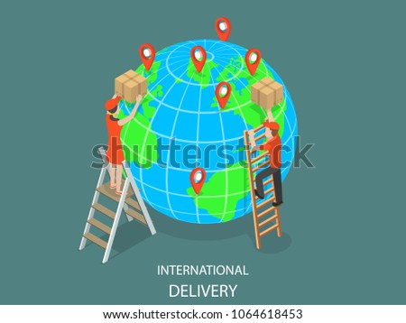 International delivery flat isometric vector concept. Couriers are delivering parcels to the globe model using ladders. Global logistic, worldwide freight shipping.