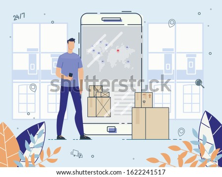 International Delivery Service on Mobile Phone. Man Customer Using Application on Smartphone for Ordering Cargo Shipment. Online Tracking and Checking Express, Free, Fast Worldwide Freight Shipping