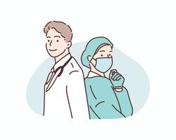 International doctor team. Hospital medical staff. Hand drawn style vector design illustrations.