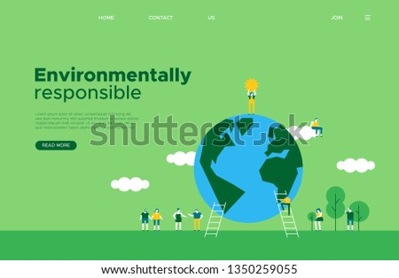 International Earth Day online web landing page template. Green planet and tiny people helping for social media project or awareness campaign.