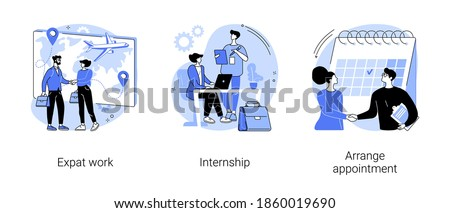 International employment abstract concept vector illustration set. Expat work, internship, arrange appointment, apply for job, professional growth, working place, student training abstract metaphor.