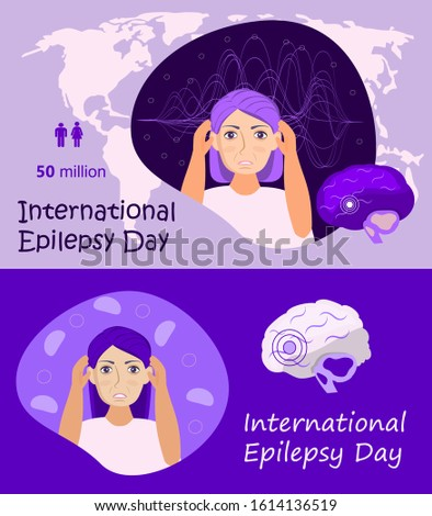 International Epilepsy Day is special event  on the second Monday of February. Epileptic, neurology health care. Migraine, terrible headache concept vector. The impulses in the brain. Stock photo ©