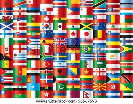 International flags vector. 130 flags.