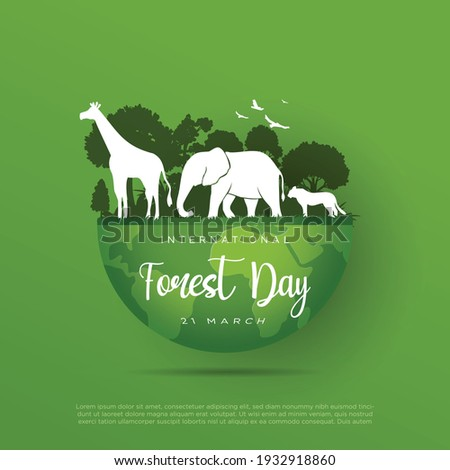 international forest day 21 march vector illustration. animal, tree, green greeting, wildlife, globe, earth eps.10