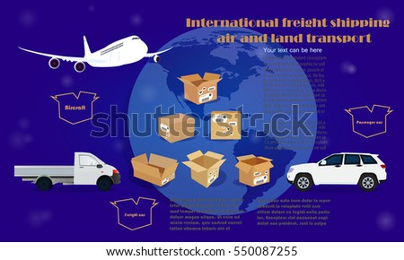 International freight shipping air and land transport