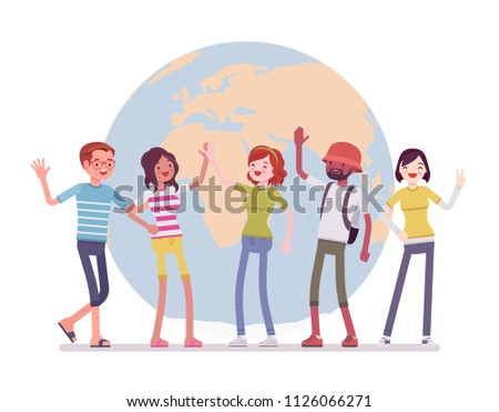 International friendship team. Good relationship between friends of different nations, young happy people of earth together. Vector flat style cartoon illustration isolated on white background