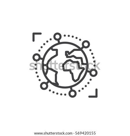 International, global business line icon, outline vector sign, linear pictogram isolated on white. Symbol, logo illustration