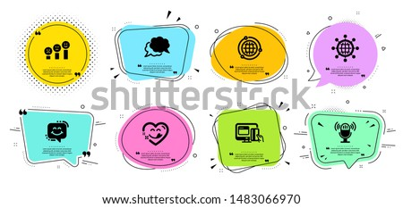 International globe, Smile chat and Chat message line icons set. Chat bubbles with quotes. Customer satisfaction, Yummy smile and Globe signs. Microphone, Online payment symbols. Vector