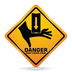 International Hand Crush Hazard Symbol,Yellow warning Dangerous icon isolated on white background, Attracting attention, Compulsory, Control, practice, Security first sign, Vector, EPS10