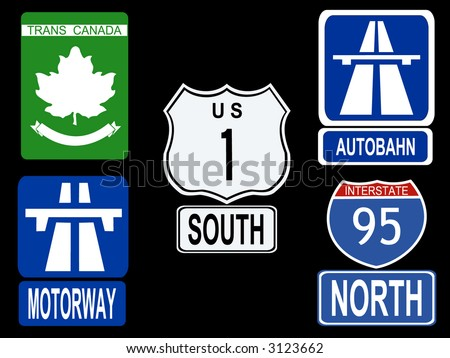 international Highway signs illustration American, Canadian, German and British