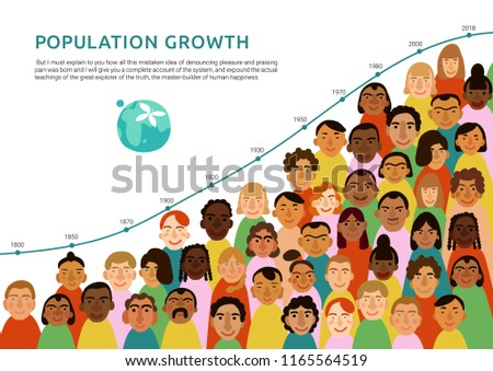 International human faces infographics with chart of earth population growth flat vector illustration Foto stock ©