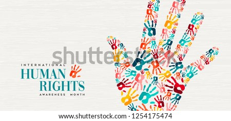 International Human Rights day illustration for global equality and peace with colorful people hand prints, social diversity concept.