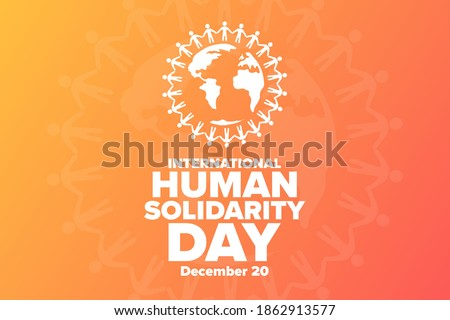 International Human Solidarity Day. December 20. Holiday concept. Template for background, banner, card, poster with text inscription. Vector EPS10 illustration Сток-фото ©