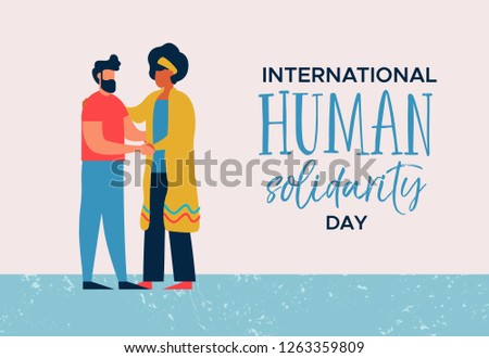 International Human Solidarity Day illustration of woman and man from different cultures helping each other for community help, social support concept.