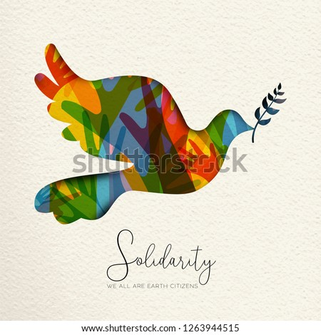 International Human Solidarity Day illustration. Paper cut dove bird shape and colorful hands from different cultures helping each other for community help, social peace concept.