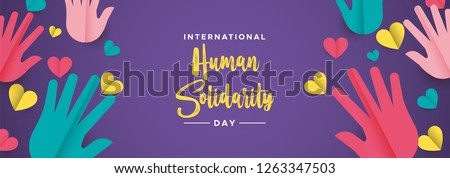 International Human Solidarity Day illustration web social banner with colorful hands and hearts for community help, support concept.