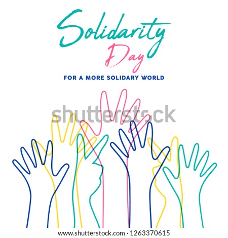 International Human Solidarity Day illustration with colorful line hands from different cultures helping each other for community help, social support concept.
