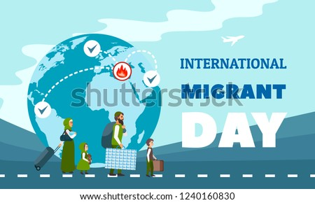 International immigration concept background. Flat illustration of international immigration vector concept background for web design