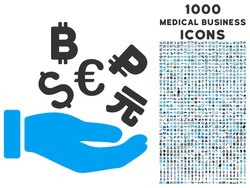 International Investment vector bicolor icon with 1000 medical business icons. Set style is flat pictograms, blue and gray colors, white background.