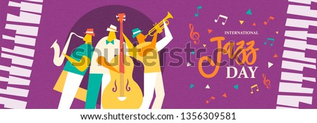 International Jazz Day banner illustration of live music band playing diverse musical instrument in concert or festival event. Stock photo ©