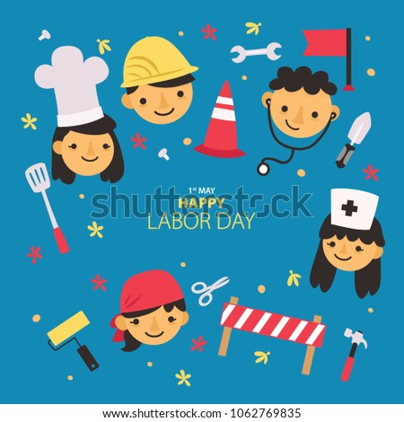 International Labor Day. Labor day. The first of May.Greeting card