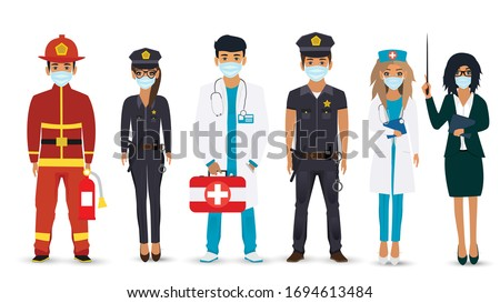 International Labor Day. People of different professions set on a white background. Fireman, Police, Doctor, Nurse, Teacher. Vector illustration in a flat style. Fight against covid-19 viruses.