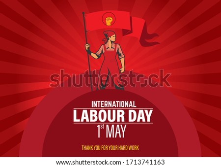 International Labour Day vector. Labour Day 2020 poster. May 1st worker's day. Labour day red background with red flag vector poster. Thank you for your hard work.