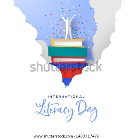 International literacy day card illustration. Happy man on top of book mountain in clouds. Modern papercut style concept for reading knowledge and culture event.