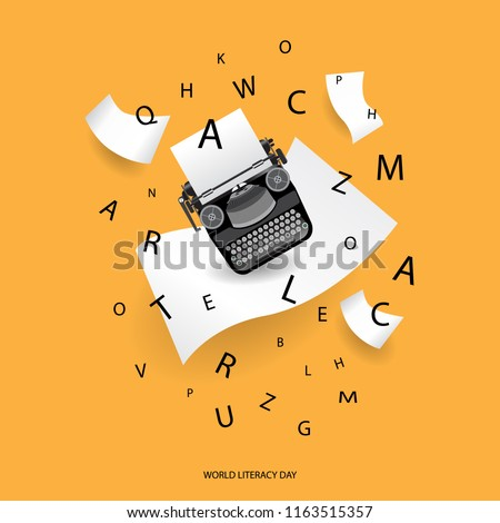 International literacy day concept, paper and letter with yellow background