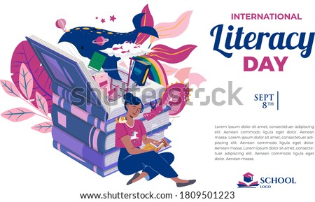 International Literacy Day greeting card illustration-girl reading book-colorful cartoon animal characters-2nd September-education holiday Сток-фото ©