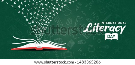 International Literacy Day greeting card illustration of open book with alphabet letters on chalk board background. Children education or reading imagination concept for learning event.