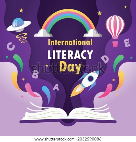 International Literacy Day greeting card illustration of open book with cute paper hot air balloons, rockets, UFO, alphabets, stars and rainbow in modern papercut style 8th September.