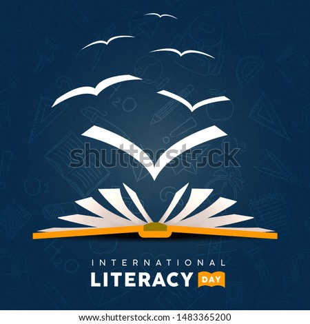 International Literacy Day greeting card illustration of open book with pages flying as birds. Reading imagination concept for education holiday.