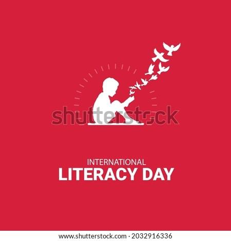 International Literacy day, Kids readign bokks and flying birds concept illustration