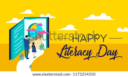 International Literacy Day poster. Education concept vector illustration.