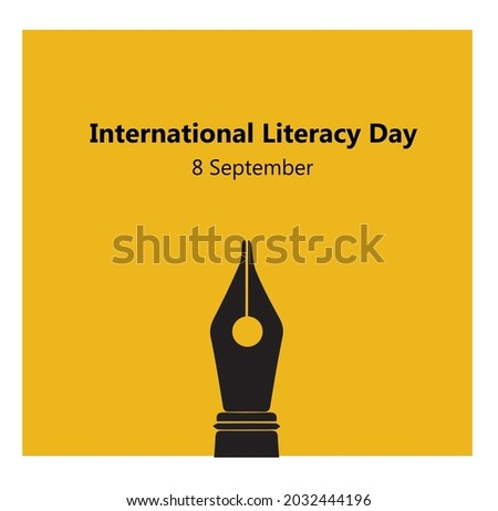 International Literacy Day, 8th September. pen logo illustration vector.
