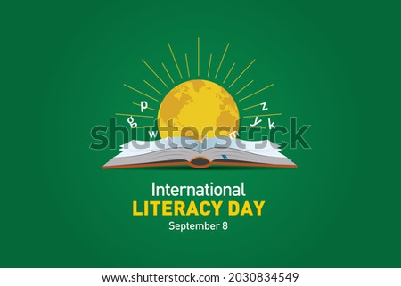 International Literacy Day Vector illustration of open book with alphabet letters and earth. Children education background or learning event concept.