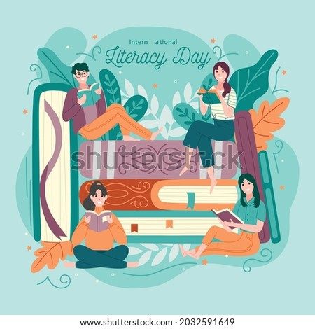 International Literacy Day vector illustration with group of diverse people celebrate Literacy Day by reading books. Flat vector illustration 8th September.