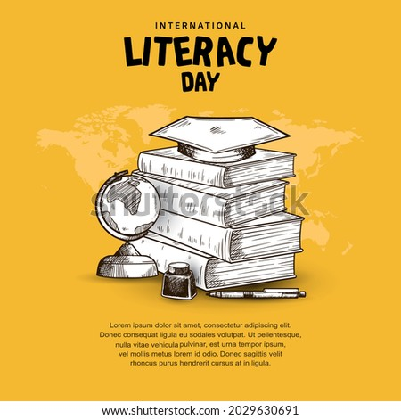 international literacy day with books, globe, ink, pen isolated on yellow background