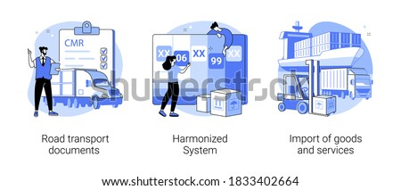 International logistics abstract concept vector illustration set. Road transport documents, harmonized system, import of goods and services, CMR, HTS code service, trading goods abstract metaphor.