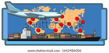 International logistics branches. Vector illustration. Logistics provider. World map with marks of the company's representative office. Transcontinental transport: air and sea transport. Isolated.