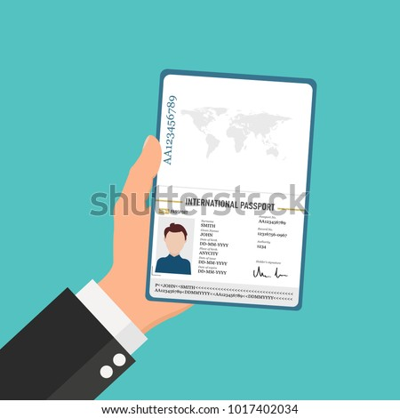 International male passport in man's hand in flat style