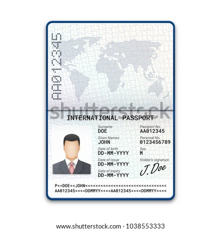 International male passport template with sample of photo, signature and other personal data. Vector illustration
