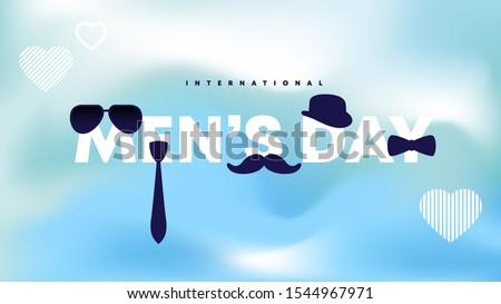 International Men's Day icon. Symbols glasses, tie, men's bow tie, hat, mustache