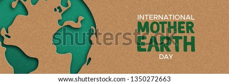 International Mother Earth Day web banner illustration of green papercut world map. Recycled paper cutout for planet conservation awareness.